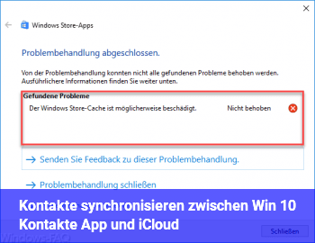 Kontakte synchronisieren zwischen Win 10 Kontakte App und iCloud