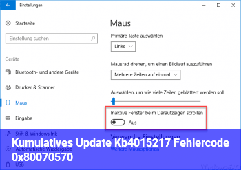 Kumulatives Update Kb4015217 (Fehlercode: 0x80070570)