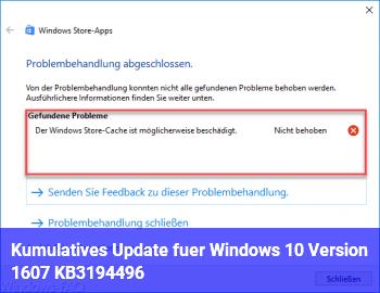 Kumulatives Update für Windows 10 Version 1607 KB3194496