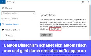 Laptop Bildschirm schaltet sich automatisch aus und geht durch erneutes aufklappen an