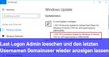 Last Logon (Admin) löschen und den letzten Usernamen (Domainuser) wieder anzeigen lassen !?!?