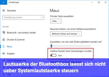 Lautsärke der Bluetoothbox lässt sich nicht über Systemlautstärke steuern
