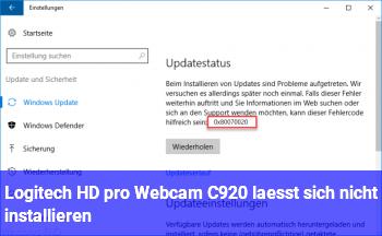 Logitech HD pro Webcam C920 läßt sich nicht installieren