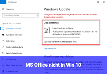 MS Office nicht in Win 10