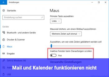 Mail und Kalender funktionieren nicht
