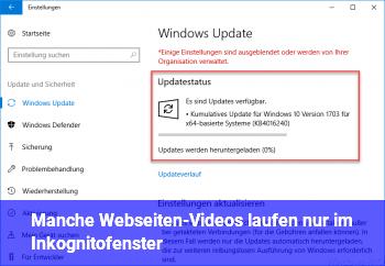 Manche Webseiten-Videos laufen nur im Inkognitofenster
