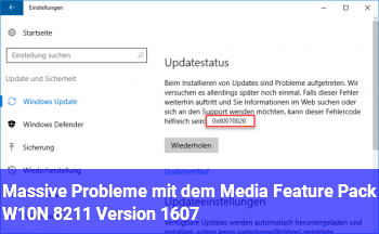 Massive Probleme mit dem Media Feature Pack (W10N – Version 1607)