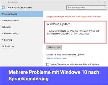 Mehrere Probleme mit Windows 10 nach Sprachänderung