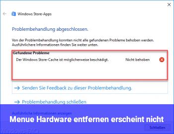 """Menü """"Hardware entfernen"""" erscheint nicht"""