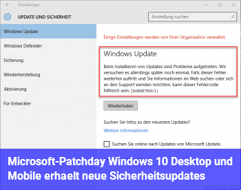 Microsoft-Patchday: Windows 10 Desktop und Mobile erhält neue Sicherheitsupdates
