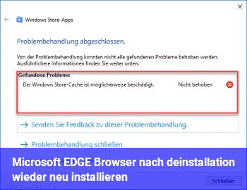 Microsoft EDGE Browser nach deinstallation wieder neu installieren ?