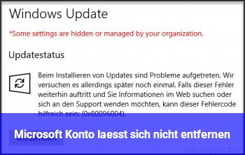 Microsoft Konto lässt sich nicht entfernen.