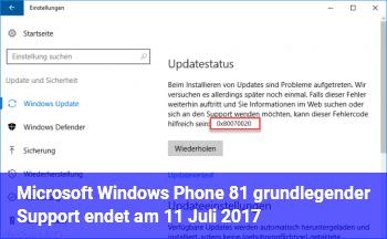 Microsoft Windows Phone 8.1: grundlegender Support endet am 11. Juli 2017