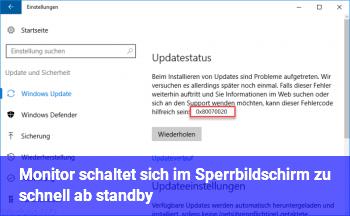 Monitor schaltet sich im Sperrbildschirm zu schnell ab (standby)