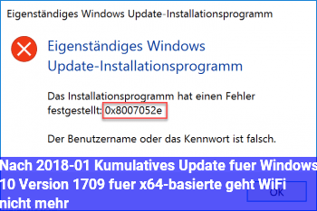 Nach 2018-01 Kumulatives Update für Windows 10 Version 1709 für x64-basierte geht WiFi nicht mehr