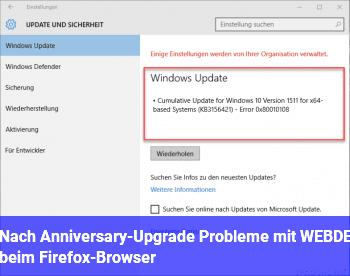 Nach Anniversary-Upgrade Probleme mit WEB.DE beim Firefox-Browser