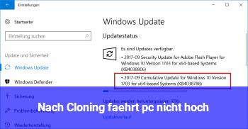 Nach Cloning fährt pc nicht hoch