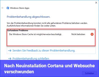Nach Neuinstallation Cortana und Websuche verschwunden