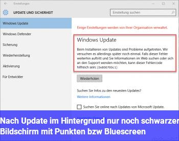 Nach Update im Hintergrund nur noch schwarzer Bildschirm mit Punkten bzw. Bluescreen