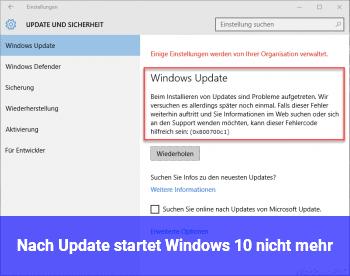 Nach Update startet Windows 10 nicht mehr