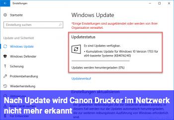 Nach Update wird Canon Drucker im Netzwerk nicht mehr erkannt.
