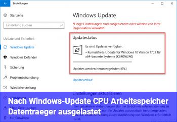 Nach Windows-Update CPU, Arbeitsspeicher, Datenträger ausgelastet