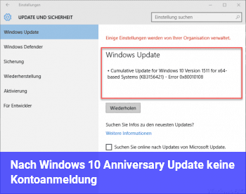 Nach Windows 10 Anniversary Update keine Kontoanmeldung