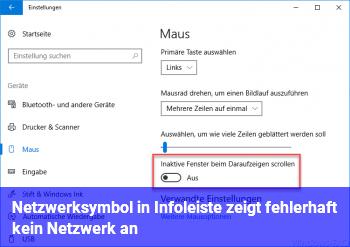 """Netzwerksymbol in Infoleiste zeigt fehlerhaft """"kein Netzwerk"""" an"""