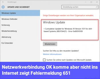 Netzwerkverbindung OK, komme aber nicht ins Internet, zeigt Fehlermeldung 651
