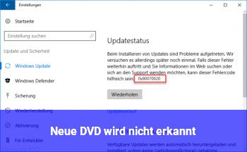 Neue DVD wird nicht erkannt