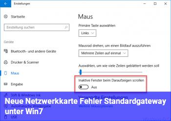 Neue Netzwerkkarte ? Fehler Standardgateway unter Win7