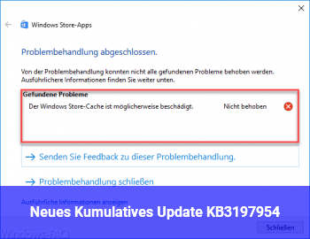 Neues Kumulatives Update KB3197954