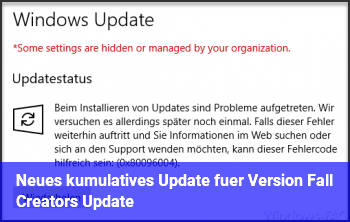"Neues ""kumulatives Update für Version ""Fall Creators Update"