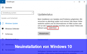 Neuinstallation von Windows 10