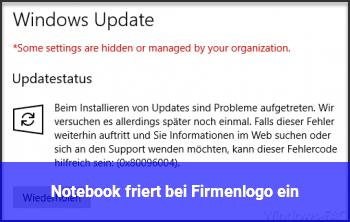 Notebook friert bei Firmenlogo ein