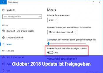 Oktober 2018 Update ist freigegeben