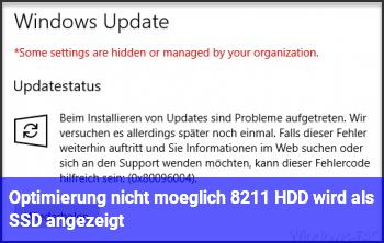 Optimierung nicht möglich – HDD wird als SSD angezeigt