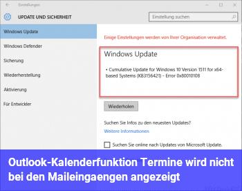 Outlook-Kalenderfunktion (Termine) wird nicht bei den Maileingängen angezeigt