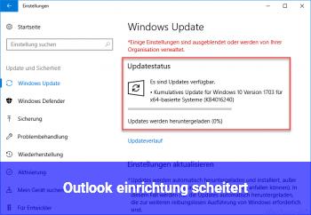 Outlook einrichtung scheitert