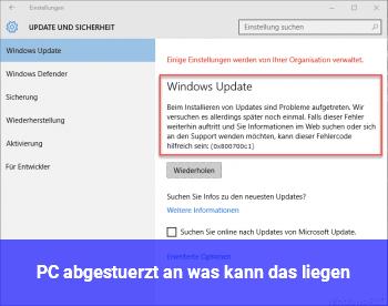PC abgestürzt, an was kann das liegen?