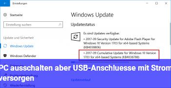 PC ausschalten aber USB-Anschlüsse mit Strom versorgen