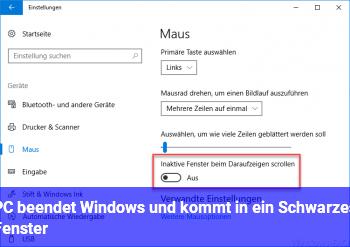 PC beendet Windows, und kommt in ein Schwarzes Fenster