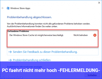 PC fährt nicht mehr hoch -FEHLERMELDUNG-