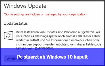 Pc stürzt ab, Windows 10 kaputt?