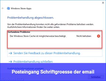 Posteingang Schriftgröße der email