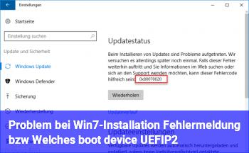 Problem bei Win7-Installation (Fehlermeldung bzw. Welches boot device: UEFI/P2?)