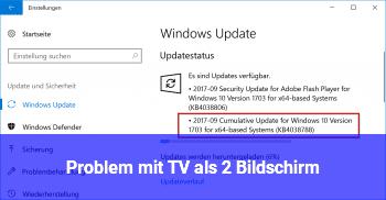 Problem mit TV als 2. Bildschirm