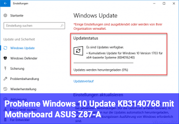 Probleme Windows 10 Update KB3140768 mit Motherboard ASUS Z87-A