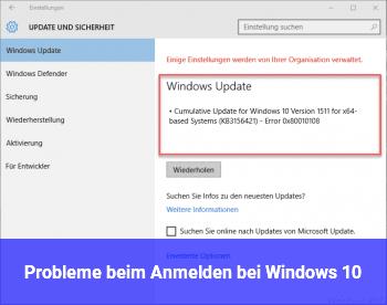 Probleme beim Anmelden bei Windows 10