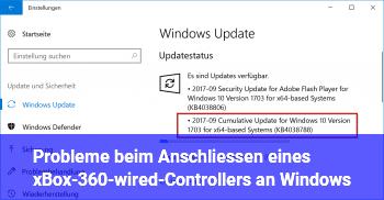 Probleme beim Anschließen eines xBox-360-wired-Controllers an Windows